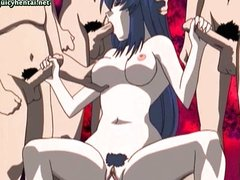 Hentai honey getting team-fucked in group