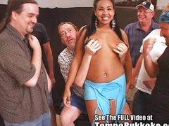 Latin babe seductress bukkake orgy!