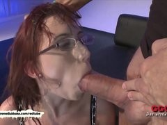 Nerdy gal can't live without cum on her glasses